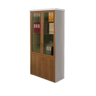 Шкаф книжный со стеклянными дверьми в рамке МТ 369