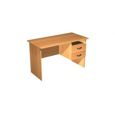 Стол письменный с правой подвесной тумбой 2 ящика + ниша СТ-104